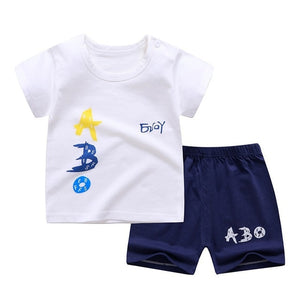 2020 New Kids Clothes Toddler Boys Cartoon Outfits Baby Girls Summer Tees Suits 0-6 Years Children Clothing T-shirt + Shorts
