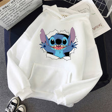 Load image into Gallery viewer, Harajuku Pink Pullovers Lovely Kawaii Casual Tops O-neck Women's Hooded Sweatshirt LILO STITCH Hoodie Pullovers Long Sleeves