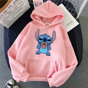 Harajuku Pink Pullovers Lovely Kawaii Casual Tops O-neck Women's Hooded Sweatshirt LILO STITCH Hoodie Pullovers Long Sleeves