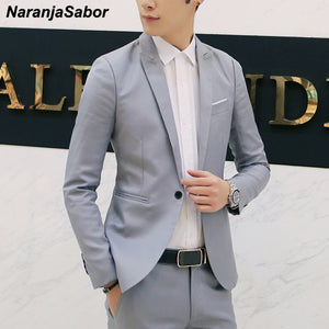 NaranjaSabor New Men's High Quality Blazer Spring Autumn Fashion Suit Coats Men Slim Fit Casual Jackets Male Brand Clothing N617