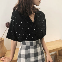 Load image into Gallery viewer, Fashion Women Polka Dot Summer Short Sleeve Blouse Women's Turn Down Collar Casual Short Tops
