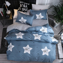 Load image into Gallery viewer, Star Blue Plaids 4pcs Bed Cover Set Cartoon Duvet Cover Adult Kids Boys Bed Sheets And Pillowcases Comforter Bedding Set 61001