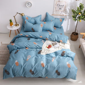 Star Blue Plaids 4pcs Bed Cover Set Cartoon Duvet Cover Adult Kids Boys Bed Sheets And Pillowcases Comforter Bedding Set 61001