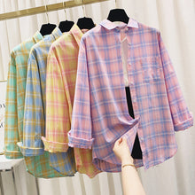 Load image into Gallery viewer, Summer Plaid Shirts Womens Blouses And Tops Thin Loose Sun Protection Outwear Casual Checked Lady Clothes Plus Size