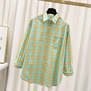 Summer Plaid Shirts Womens Blouses And Tops Thin Loose Sun Protection Outwear Casual Checked Lady Clothes Plus Size