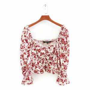 women floral print pleated ruffles short blouse ladies butterfly sleeve chic shirts square collar feminina blusas tops LS6408