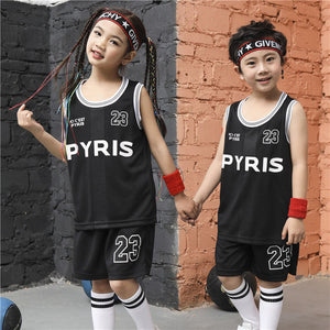 Kid LSPORT 23# Basketball Set,Girls Basketball jersey uniform,Breathable Child Sport shirts shorts,BasketBall Team train Clothes
