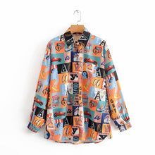 Load image into Gallery viewer, new 2020 women fashion patchwork print casual pocket blouses office turn down collar business shirts chic chemise tops LS6300