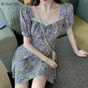 Dress Women A-line Floral Summer Lace High Waist Holiday Beach Midi Dresses Elegant New Female Maxi Lovely Korean Style Fashion