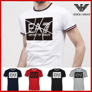 armani Men t shirt cotton solid O-Neck short sleeve tshirt high quality