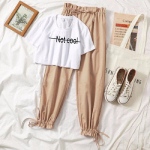 Print Tracksuit Two Piece Set Women Summer 2020 Kawaii Korean 2 Piece Suit Female Casual White tshirt Cute Girl Sets Clothes