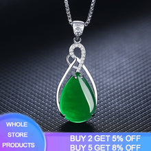 Load image into Gallery viewer, YANHUI S925 Sterling Silver Women's Necklace Corundum Pendant Jade Turquoise S925 Collarbone Jewelry Ruby Gemstone Bizuteria