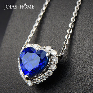 JoiasHome Classic 925 Silver Jewelry Necklace with Heart-shape Sapphire Zircon Gemstones Pendant for Women Wedding Party Gifts