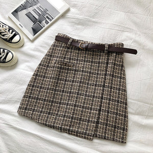 Summer sex A-line Mini Skirt Vintage Casual Women Plaid Skirt Chic Sashes Korean Irregular Lady Skirt Female Sweet High Waist