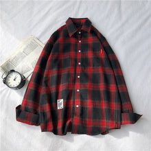 Load image into Gallery viewer, RUIHUO 2020 New Spring Long Sleeve Red Black Plaid Shirt Men Slim Fit Cotton Casual Shirts Men Clothing Fashion Brand M-3XL
