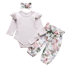 Load image into Gallery viewer, Fashion Newborn Infant Clothing Solid Color Baby Girl Clothes Set Ruffle Romper Tops Floral Pants Headband 3Pcs Autumn Outfits