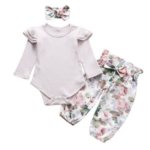 Fashion Newborn Infant Clothing Solid Color Baby Girl Clothes Set Ruffle Romper Tops Floral Pants Headband 3Pcs Autumn Outfits