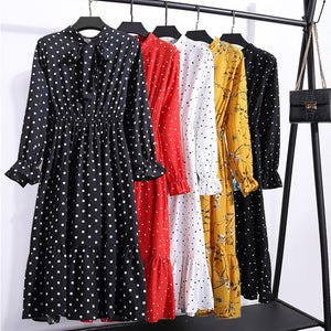2019 Summer Hot Selling AliExpress Cross-Border Hot Selling Korean-style Mid-length Floral-Print Polkadot Pleated Dress 8010
