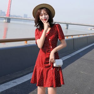 2020 New Summer Dress Elegant Women Fashion Korean Style Dress Lady Polka Dot Cute A Line V Neck Shirt Dress Black White Red
