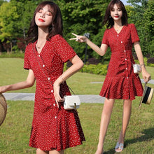 Load image into Gallery viewer, 2020 New Summer Dress Elegant Women Fashion Korean Style Dress Lady Polka Dot Cute A Line V Neck Shirt Dress Black White Red