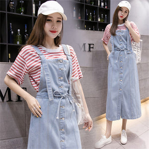 Summer Dress Women Sleeveless Spaghetti Strap Jeans Dress 2020 Korean Style Plus Size Dresses For Women Long Suspender Sundress