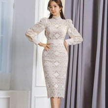 Load image into Gallery viewer, Elegant Korean Women Lace Pencil Dress Autumn Spring Vestido Femme Female Sexy Hollow Out Full Sleeve Hip Package Office Dress