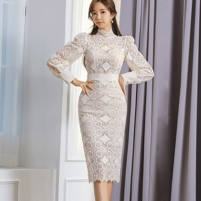 Elegant Korean Women Lace Pencil Dress Autumn Spring Vestido Femme Female Sexy Hollow Out Full Sleeve Hip Package Office Dress
