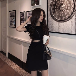 Korean Dress 2019 Summer Short Sleeve Chic Hollow Slim Waist Dresses Woman Sexy Mini American Style Fashion Women's Clothing