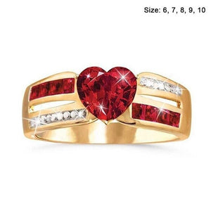 1pcs Rose Gold Red Ruby Ring For Women Heart Shape Flower Rings Red Gemstone Ring Engagement Party Jewelry For Women