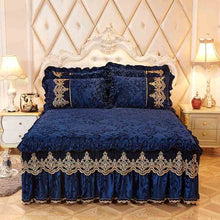 Load image into Gallery viewer, High-grade Bed Skirt Bedding Sets Pillowcases Velvet Thick Warm Lace Bed Sheets 1/3pcs Royal Blue Mattress Cover King Queen size