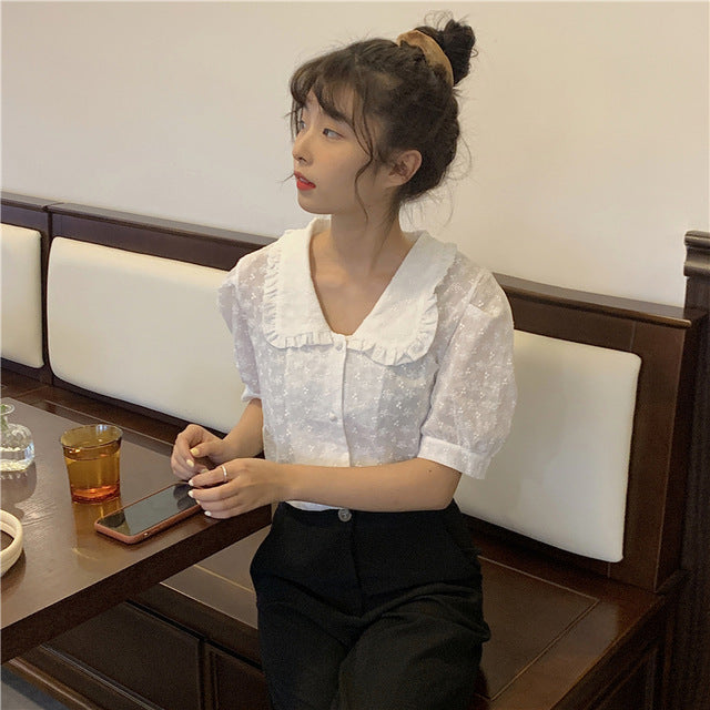 New spring Vintage white Shirt female Oversize Tops Women short sleeve Girls Blouse Summer Plus Size Women Blouses femme Blusas