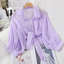 Load image into Gallery viewer, HELIAR Chiffon Shirts Women 2020 Summer Half Sleeve Buttoned Up Shirt Loose Casual Blouse Tied Waist Elegant Blouses For Women