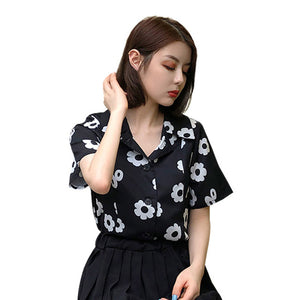 Z 2019 Women Blouse Summer Chiffon Turn-down Collar Vintage  Flower Shirt Female Printed Short-sleeved Womens Tops And Blouses