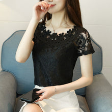 Load image into Gallery viewer, Lace Top Women Sleeveless Summer Tops 2018 New Korean Style Elegant Hollow Out Casual Lace Blouses Shirts For Ladies DF1639