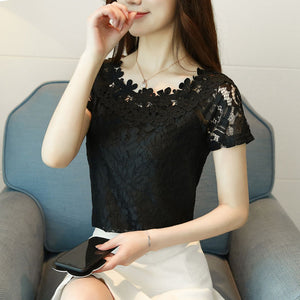 Lace Top Women Sleeveless Summer Tops 2018 New Korean Style Elegant Hollow Out Casual Lace Blouses Shirts For Ladies DF1639