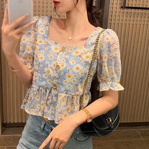 MISHOW 2020 Fashion Summer New Floral Blouses Women Vintage Square Neck Shorts Sleeve Retro Shirts Female Casual Tops MX20B4258