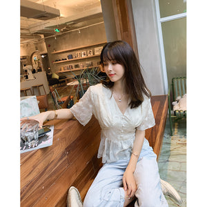 Mishow 2019 Summer New Casual Chiffon short Sleeve Vneck High Waist Single-breasted with lace blouse Tops Shirt MX19B4441