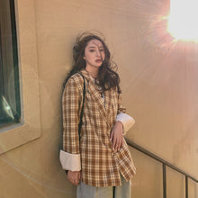 Load image into Gallery viewer, Plaid Korean Ladies Blazer Yellow  Stylish Loose Casual Suit Jacket  Simple Long Sleeve Bleyser Mujer Women's Clothing MM60NXZ