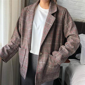 Blazers Women Spring Autumn Plaid Notched Single Button Chic Preppy Style Korean Loose Retro Fashion Casual Elegant 2020 Hot New