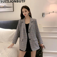 Load image into Gallery viewer, Korean Plaid Vadim Blazer Feminino Notched Collar Spring Casual Chaqueta Mujer 2 Colors Marynarka Damska Coat Mujer Women Blazer