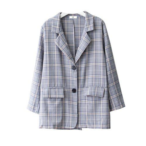 Korean Plaid Vadim Blazer Feminino Notched Collar Spring Casual Chaqueta Mujer 2 Colors Marynarka Damska Coat Mujer Women Blazer