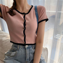 Load image into Gallery viewer, Women Patched O-Neck Knitted Short Sleeve Cropped Slim Sweaters Cardigans Lady Single-breasted Sweater Crop Tops for Female