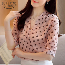 Load image into Gallery viewer, Short Sleeve Pullover Ladies Blouses New Korean Style Summer Women's Shirts Office Lady V Neck Polka Dot Blouse Women 9025 50