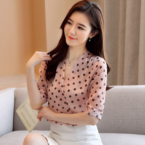 Short Sleeve Pullover Ladies Blouses New Korean Style Summer Women's Shirts Office Lady V Neck Polka Dot Blouse Women 9025 50