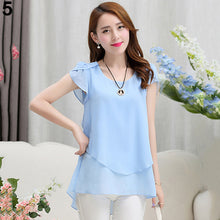 Load image into Gallery viewer, Women's Fashion Summer Short Sleeve Loose Chiffon Shirts Round Neck Tops Blouse
