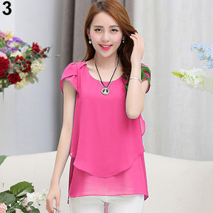 Women's Fashion Summer Short Sleeve Loose Chiffon Shirts Round Neck Tops Blouse