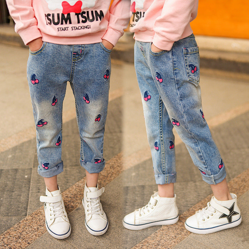 Kids Jeans for Spring and Autumn Children's Wear Girls Autumn New 5-12 Year Old Girls Jeans Casual Pants Girls Jeans girl age 12