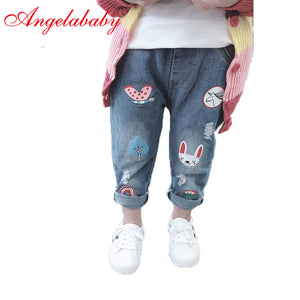 Girls cute cartoon jeans 2019 autumn children's casual trousers kids elastic waist pants