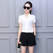Load image into Gallery viewer, Korean Fashion Womens Tops and Blouses Chiffon Women Blouses Short Sleeve White Shirts Plus Size XXL Ladies Tops