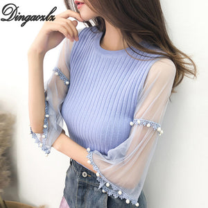 Dingaozlz pullover beading women tops sweater elegant female lace stitching casual shirt sweater korean 2018 new